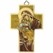Madonna and Child Red Icon Crucifix (12 x 9cm)