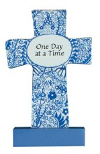 12542 One Day Wood Message Cross 9cm