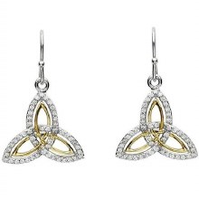 Sterling Silver Gold Plate Cubic zirconia Trinity Earrings