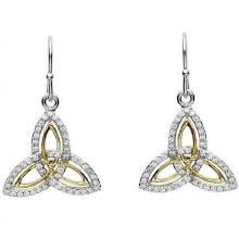 Sterling Silver Gold Plate Cubic zirconia Trinity Earrings