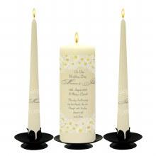 Personalised Daisies Wedding candle set