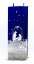 Starry Night Nativity Scene Handmade Flat Candle