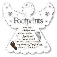Footprints Angel Wooded Plaque