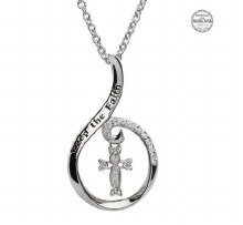 Sterling Silver Keep The Faith Swarovski Cross Pendant