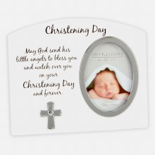White and Silver Baptism Day Photo Frame