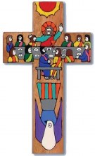 Last Supper Hand Painted Wooden Cross (25cm)