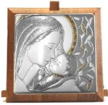 CAQ5 Sterling Silver Madonna Child Gold Trim