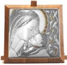 CAQ5 Sterling Silver Madonna Child Gold Trim