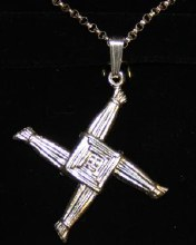 Heavy Sterling Silver St. Bridgids Cross Necklace