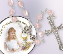 Pink Glass First Holy Communion Rosary Beads