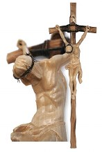 Hand Crafted Crucifix with Cream Corpus - Ideal for Schools/Churches/Sacred Spaces (60cm)