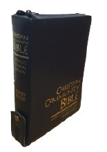 Christian Community Bible, Navy Leather, Zipped