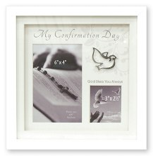 White Confirmation wood style box photo frame