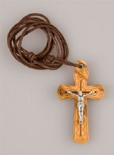 Olive Wood Crucifix with 60cm Cord