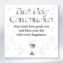 Beautiful White First Holy Communion Block Art Plaque.