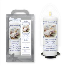 Traditional Baby Boy Baptism Candle