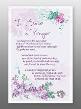 I Said A Prayer Glass Plaque 18 x 13 cm
