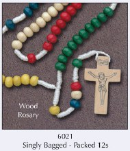 Wood Coloured Corded Rosary Beads