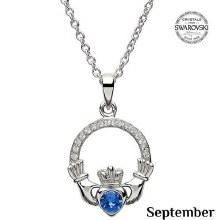 Claddagh Birthstone Necklace With Swarovski Crystals (September)