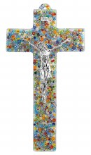 Specchio Murano Glass Crucifix with Silver Corpus (47cm)