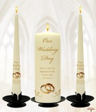 Butterflies and Gold Rings Ivory Wedding Candle