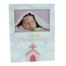 Pink Christeing Baby Girl Photo Frame