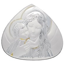 Madonna and Child silver Icon (16 x 16cm)