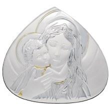 Madonna and Child silver Icon (16 x 16cm)