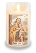 St Joseph LED Candle with wax coating (8 x 12)