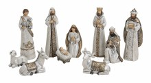 10055482 White Gold Trim Nativity 10 figures 20cm