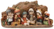 Children's Nativity Scene with Cave Resin backdrop
