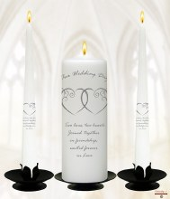 Entwined Hearts White and Silver Wedding Candle