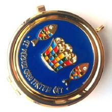 T504-11  Loaves and Fishes Blue  enamel Pyx