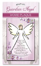 Guardian Angel Solid Wood Plaque