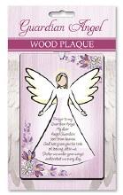 Guardian Angel Solid Wood Plaque