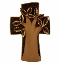 Tree of Life Cross Italian Wooden Hand Carved Cross (36cm)