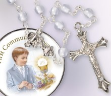 Blue Pearl First Communion Rosary Beads