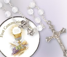 White First Holy Communion Rosary Beads