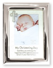 Christening Frame Silver Finish with Cross Motif