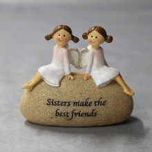 9563 Sister Freiendship Angel on a Stone 10 x 9 cm