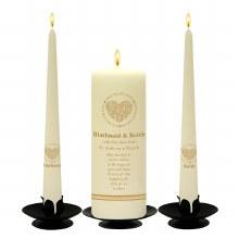 Personalised Circle of Gold Wedding Candle Set
