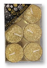Gold Glitter Tealight set of six