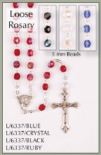 L/6337/R  Loose Ruby Crystal Rosary Beads