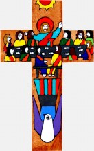 The Last Supper Hand Painted Wooden Cross (25cm)