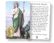 St Martha Prayercard with Medal