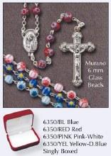 Yellow and Dark Blue Murano Glass Rosary Beads