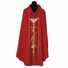 Red Chasuble with Gold Printed Cross