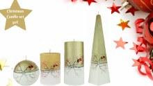 A1229 Gold Christmas Robin  4 Candle Set