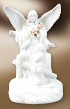 White Ceramic Guardian Angel with Light