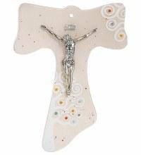 Giardino Glass Tau Crucifix with Silver Corpus (25cm)